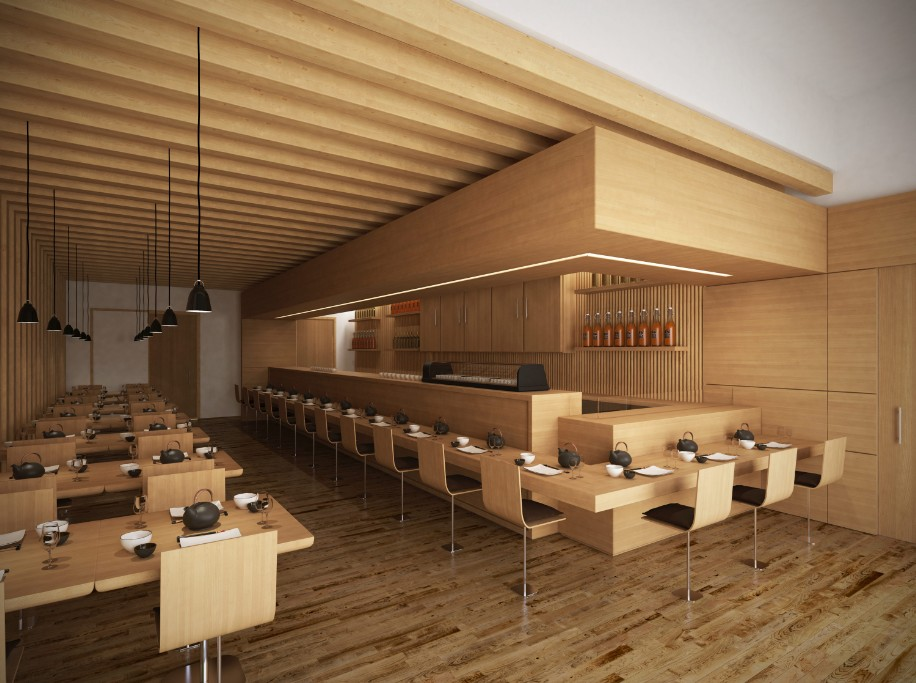 sushi restaurant lotoarchilab. Black Bedroom Furniture Sets. Home Design Ideas